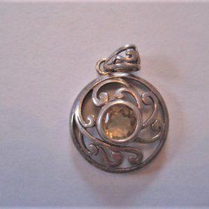 Vintage .925 Sterling Silver Pendant Citrine